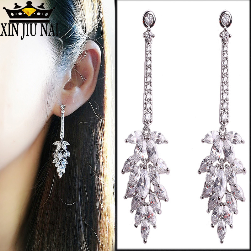 Design Long Christmas Tree Crystal Drop Earrings For Women Luxurious Jewelry Paved Shining Cubic Zirocnia Sone Pendientes Mujer