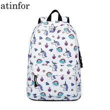 Atinfor marka su geçirmez sevimli Unicorn baskı orta okul kitap çantası Laptop sırt çantası okul çantası genç kızlar için