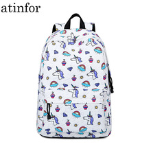atinfor Brand Waterproof Cute Unicorn Print Middle School Book Bag Laptop Backpack School Bag for Teenage Girls