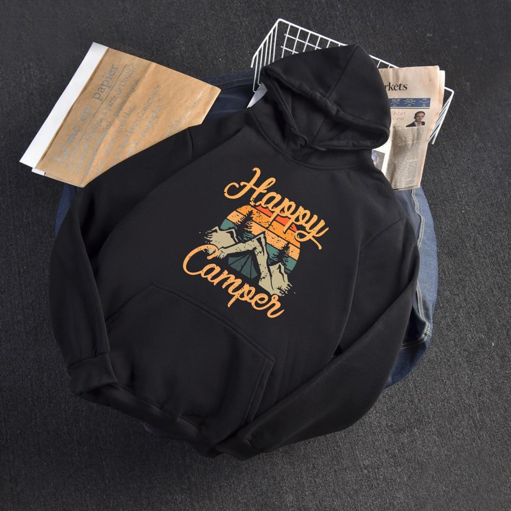 2020 Autumn Winter Hoodies Woman Long Sleeve Sweatshirt Female Hooded Hoody Fleece Happy Camper Woman Hoodies 7
