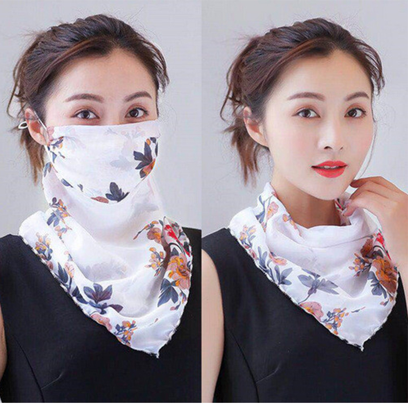 Floral Print Outdoor Sun Mask Women Dustproof Mask Riding Half Face Masks For Protective Cycling Running Bicycle Windproof D30