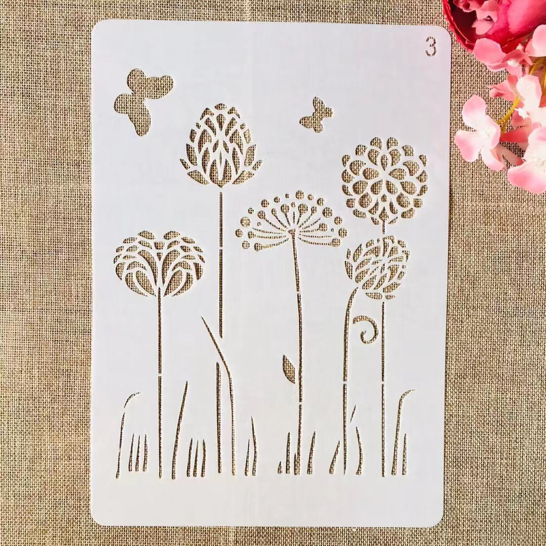 1Pcs A4 29cm Dandelion Butterfly II DIY Layering Stencils Painting Scrapbook Coloring Embossing Album Decorative Template