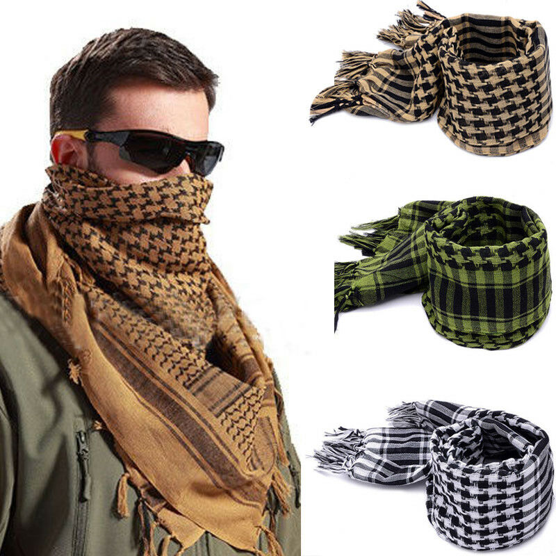 Men`s Lightweight Plaid Square Outdoor Shawl Military Arab Tactical Desert Army Shemagh KeffIyeh Arafat Scarf