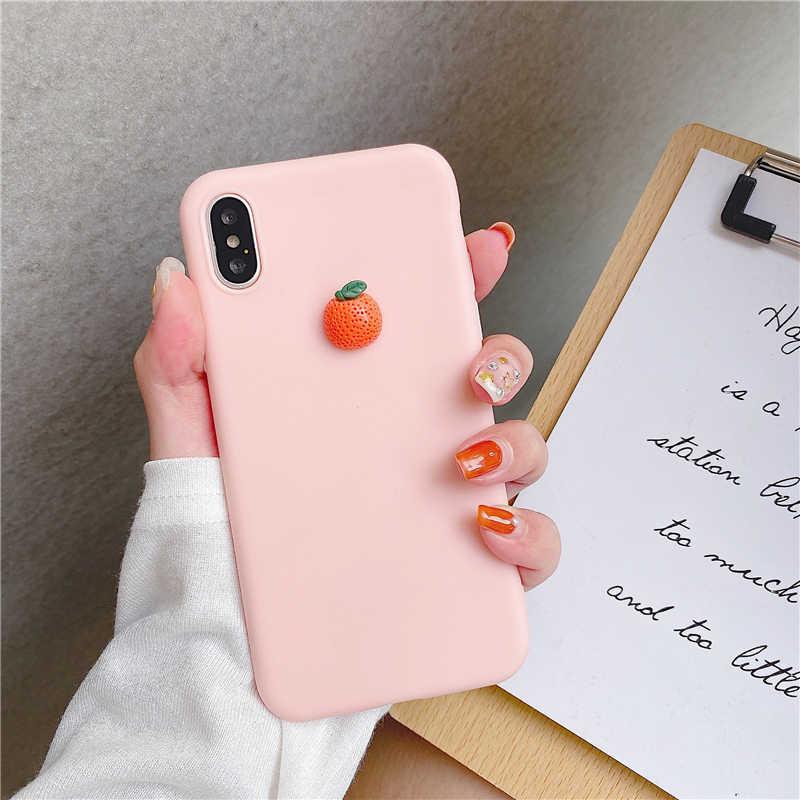 Samsung kılıfı Galaxy S8 S9 S10 5G Lite artı S6 S7 kenar yumuşak kapak sevimli 3D meyve silikon şeftali üzüm avokado orange kılıfları