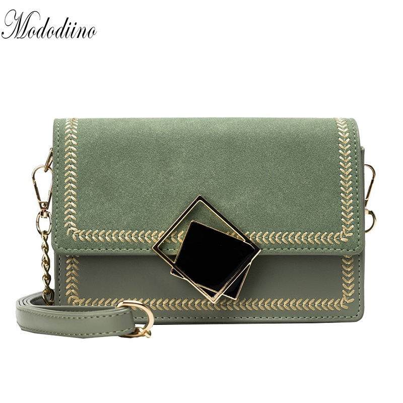 Mododiino Scrub Leather Shoulder Bag Women Bags Diamond Lock Crossbody Bag Chains Messenger Bag Ladies Evening Bag DNV1339