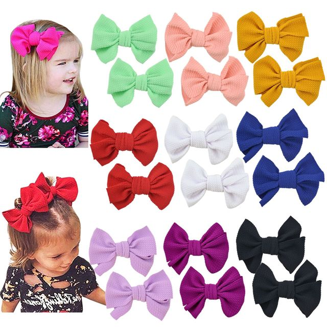 2pcs Messy Bow Infant Baby Girls Hair Clips Headwear Ribbon Bowknot Barrettes Baby Headwear Kids Bebes Knot Hairbow Hairpins