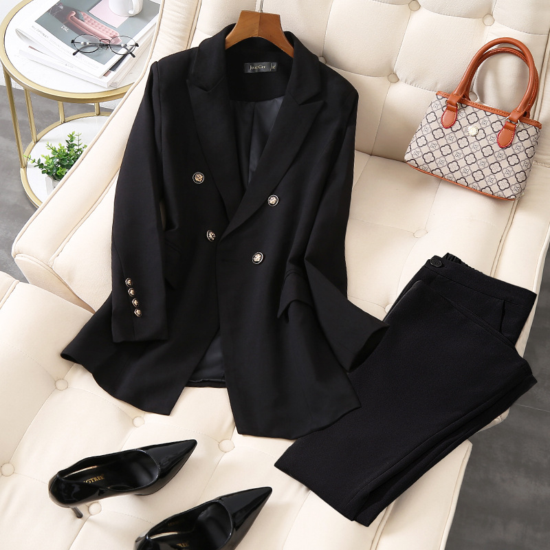 Plus size women's S-5XL office female suit pants two-piece High quality ladies jackets for autumn and winter Slim flared pants
