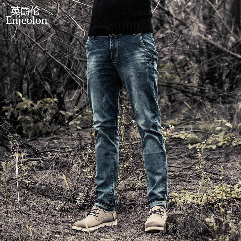 Enjeolon Brand 2019 New Men Denim Jeans Fashion Mens Casual Slim Fit Straight Long Trousers For Male Pants K6003