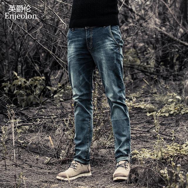 Enjeolon brand men denim jeans 긴 trousers men jeans pants 면 망 jeans pants 수컷 denim 인과 진 옷 K6003