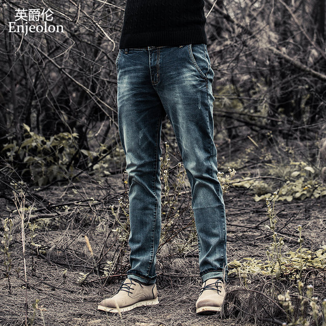 Enjeolon מותג גברים ג ינס ג ינס ארוך מכנסיים גברים ג ינס מכנסיים כותנה mens ג ינס מכנסיים זכרים ג ינס סיבתי ג ינס בגדי K6003