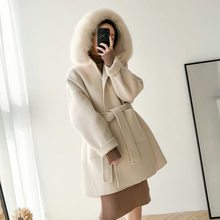 cashmere wool coat women with real fox fur collar plus size 2019 fashion winter coat women loose female overcoat high quality(China)