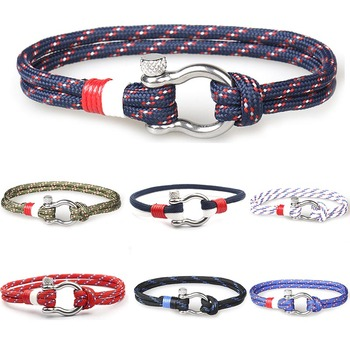Leather Rope Bracelet Rope Chain Bracelet for Women Men Navy Style Gifts image