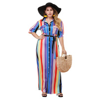 TUHAO Women Striped Color Matching Loose Rainbow Maxi Dresses Laced Up Large Size Long Shirt Dress With Sashes HC284