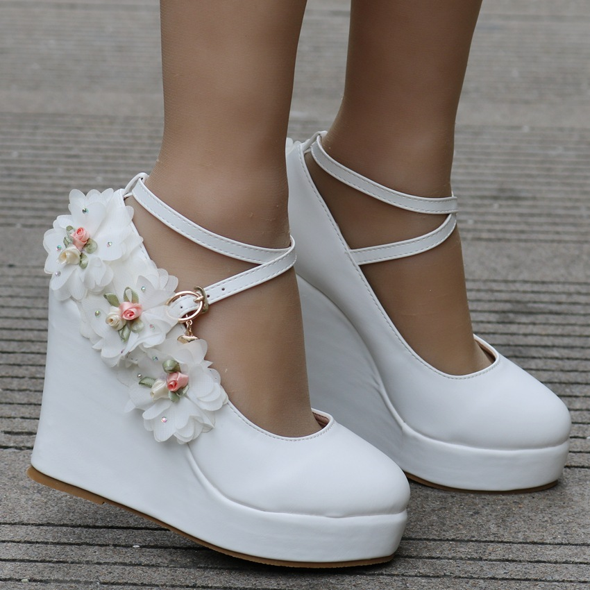 2019 new White Wedges Wedding Pumps Sweet White Flower Lace Pearl Platform Pump Shoes Bride Dress High Heels W13 in Women 39 s Pumps from Shoes