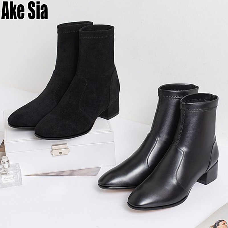 Mujer otoño invierno cálido nieve tobillo corto botas de cuero Slip On Bottine Med tacones gruesos zapatos Martin botines Sapatos c21