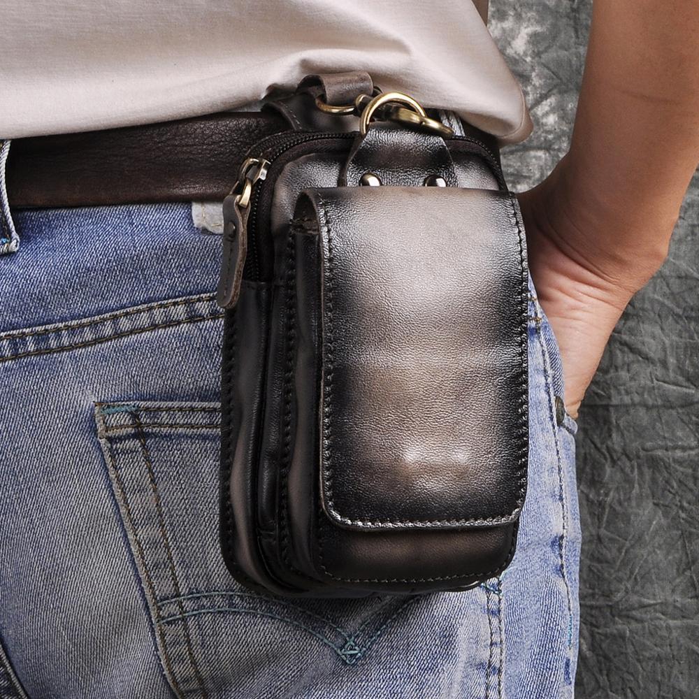 Real Leather Men Casual Design Small Cowhide Fashion Hook Bum Bag Fanny Waist Belt Pack Cigarette Case 5.5