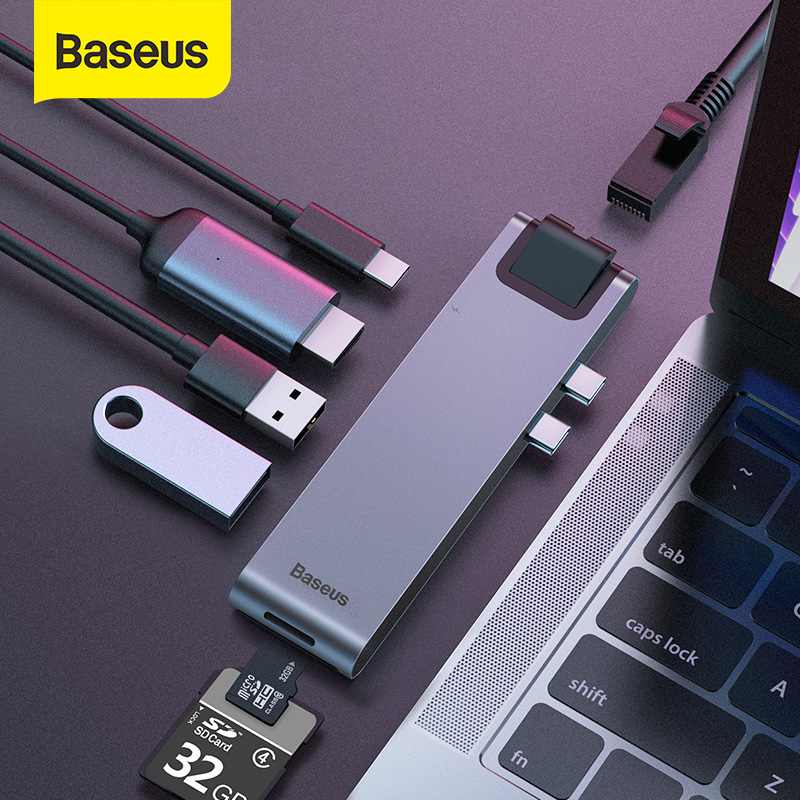 Baseus USB C HUB USB HUB To USB 3.0 HDMI Adapter For MacBook Pro Air HUB Thunderbolt 3 Dock RJ45 USB Splitter Dual Type C HUB