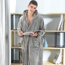 2021 Brand Men's Winter Warm Bathrobe Plus Large Size Flannel Hooded Cozy Robes Male Home Night Sleepwear Warm Dressing Gown