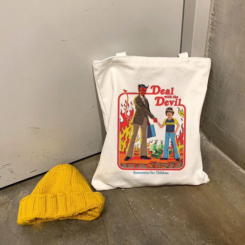 Death Evil Devil Printing Harajuku Casual Female Shoulder Canvas Bag Ins Large Capacity Tote Bag Reusable Ladies Shopping Bags
