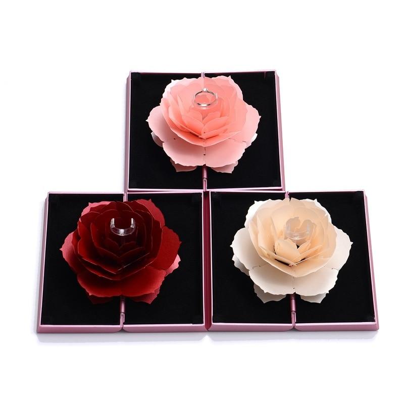 New Design High-Grade Rose Ring Gift Box Plastic Trendy Velvet Favor Box For Jewelry Display Wedding Factory Wholesale