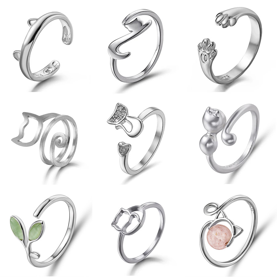 Fashion Women Finger Rings Pet Dog Paw Cat Ears Leaves Open Design Minimalist Ring Wedding Party Adjustable Ring Jewelry Gift