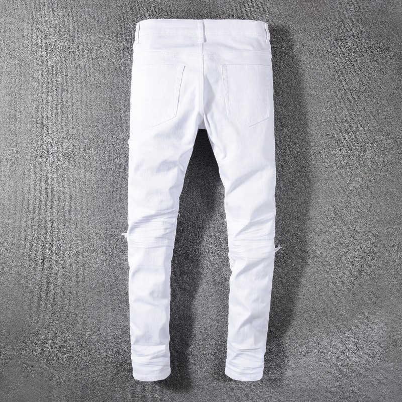 Sokotoo Pantalones Vaqueros Rasgados Elasticos Blancos Para Hombre Pantalones Vaqueros Cenidos Diseno De Telas Combinadas Con Plisado Pantalones Vaqueros Aliexpress
