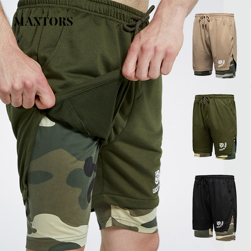 2020 Men Jogger Shorts Summer New Casual Camouflage Shorts Splice Male Sportswear Running Workout Gyms Short Trouser Double-Deck
