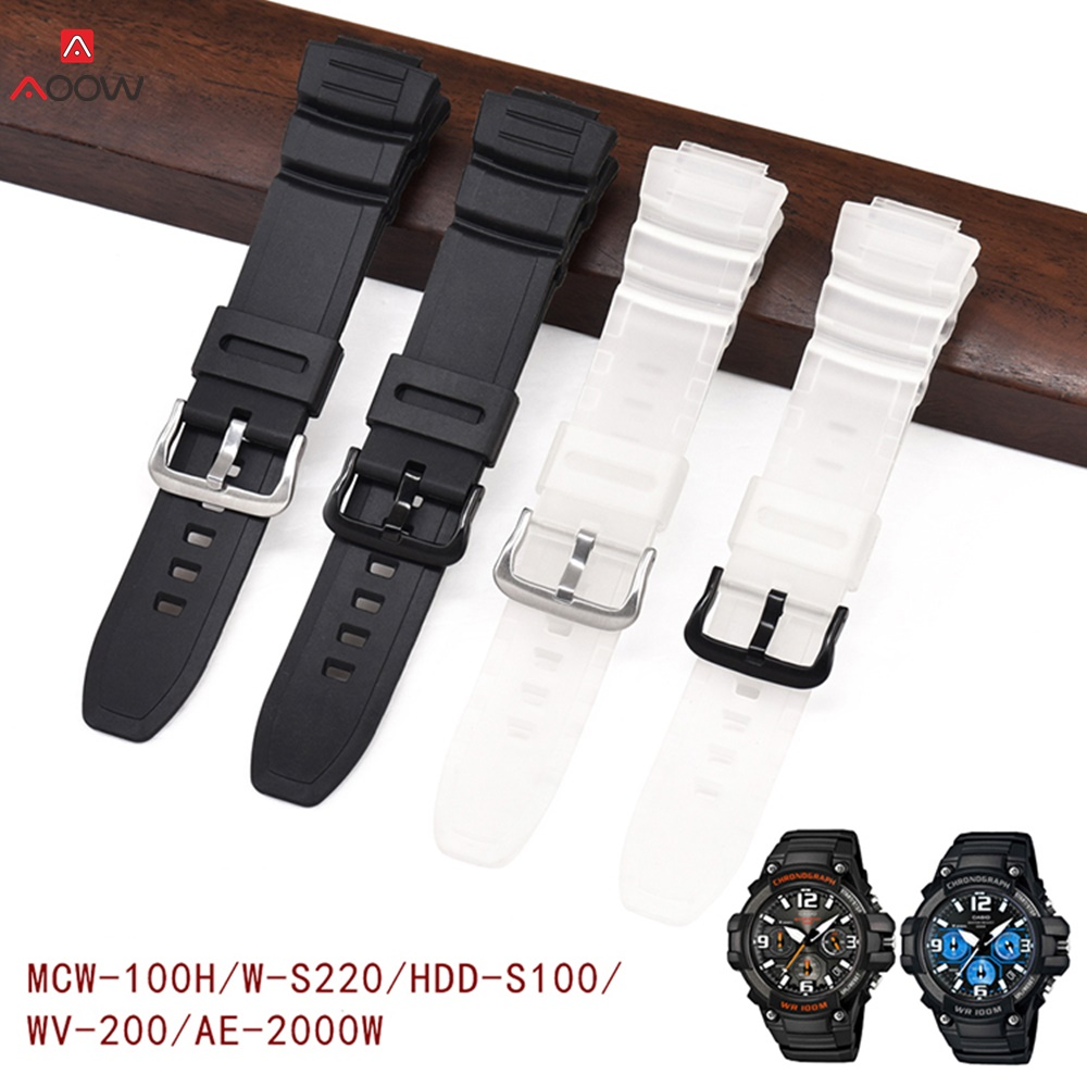 AOOW 16mm Rubber Watchband For Casio MCW-100H W-S220 HDD-S100 Waterproof Strap Replacement Driving Sport Watch Accessories
