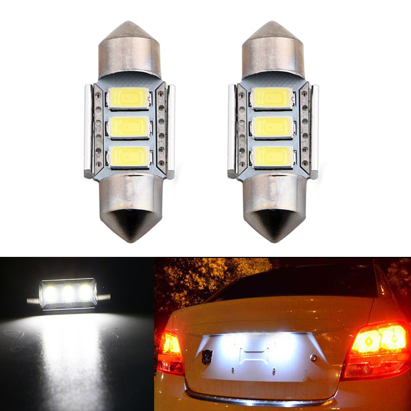 2x Dome Festoon 5630SMD Error free Bright White LED License Number Plate Light For <font><b>Volvo</b></font> S40 V50 V70 C30 C70 70 s80 XC90 <font><b>s60</b></font> image