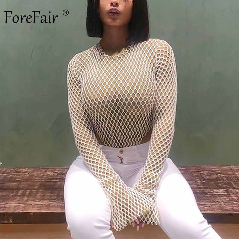 Forefair Club Hollow Out Nude Sexy Bodysuit Women O Neck Autumn Back Zip Double Layer Slim Fishnet Mesh Long Sleeve Body