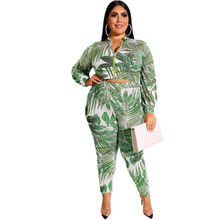 Adogirl pink-zipper leaf print plus size suits high elastic big two pieces sets long sleeve skinny tie-dye set