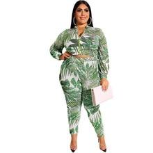 купить Adogirl pink-zipper leaf print plus size suits high elastic big size two pieces sets long sleeve skinny tie-dye suits print set по цене 1234.24 рублей