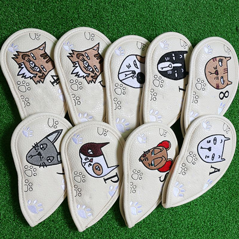 9buc portabil club de golf headcovers drăguț desen animat pisică - Golf - Fotografie 2