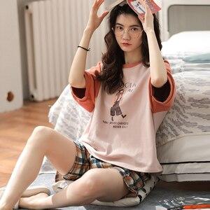 Image 4 - 女性のパジャマセットプラスサイズファム寝間着カジュアルホームウェア部屋着綿パジャマ漫画oネックパジャマM XXL