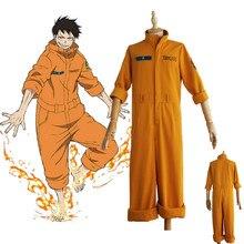 Disfraz de Cosplay de Anime Shinra Kusakabe, chaquetas, peleles DE LA FUERZA DE FUEGO Enen no Shouboutai, Brigade de bomberos, Cosplay, Asa Booru, uniforme