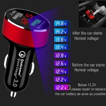 QC 3.0 Dual USB 2 Port Car Quick Charge Fast Charger Adapter With Smart LED Voltmeter For Android IPhone