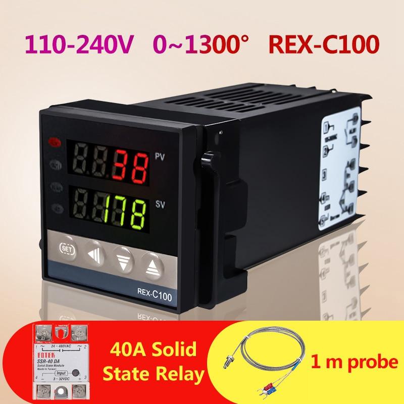 Температура контроллер Напряжение 110-240V 0 до 1300 градусов REX-C100 интеллигентая (ый) контроллер + 1 м Зонд + 40A твердотельные реле постоянного тока