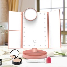 22 LEDS Light Makeup Mirror Magnifying Mirrors 180 Degree Adjustable Table Touch Screen LED Mirror Luxury Mirror 1X/2X/3X/10X tri fold adjustable 24 led lights dimmable mirror 1x 2x 3x magnifying make up mirror bathroom tabletop mirror for beauty makeup