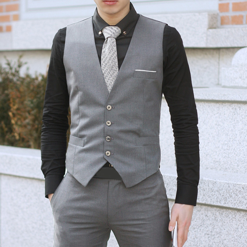 Men's Formal Business Casual Dress Vest Suit Slim Fit Tuxedo Waistcoat Coat Sleeveless Jacket Fashion Gilet Waistcoat