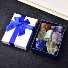 7 pçs/set pedra preciosa de cristal natural chakras cura pedra quartzo mineral ornamentos casa decoração presentes caixa para crianças