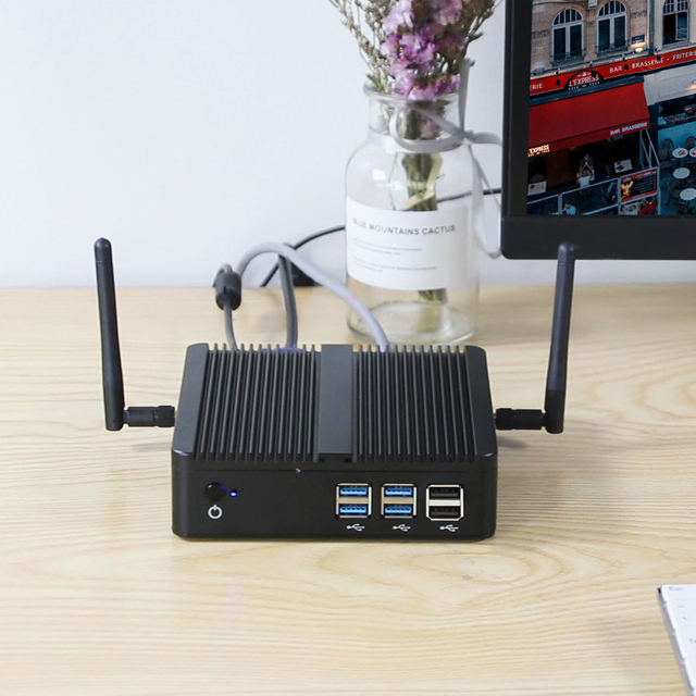 XCY Fanless Mini PC Intel Core i7-4500U 4GB/8GB RAM 128GB/256GB SSD 300Mbps WiFi Gigabit Ethernet HDMI VGA HTPC Windows 10 3
