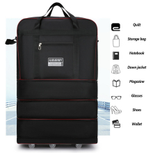 Large Capacity Universal Wheel Travel Bag Abroad Study Oxford Cloth Folding Rucksack Airplane Luggage Storage Suitcase New X49C