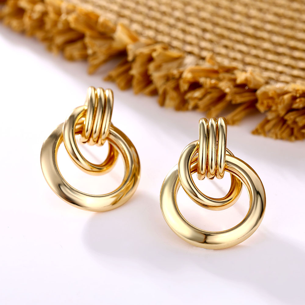Gold Silver Color Alloy Drop Earrings For Women Exaggeration Earrings Wedding Simple Fashion Jewelry Trend Accessories