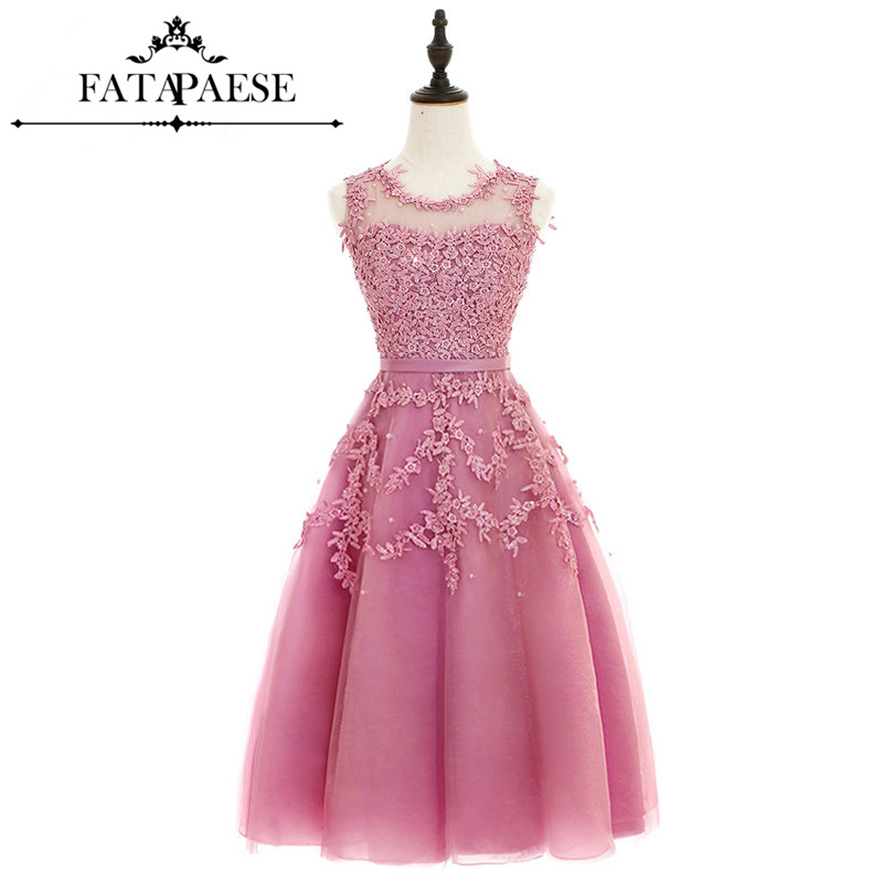 Dust Pink Tea-Length Lace Applique   Cocktail     Dresses   Short Prom   Dress   Party   Dresses   Sexy Sheer Back Robe De   Cocktail
