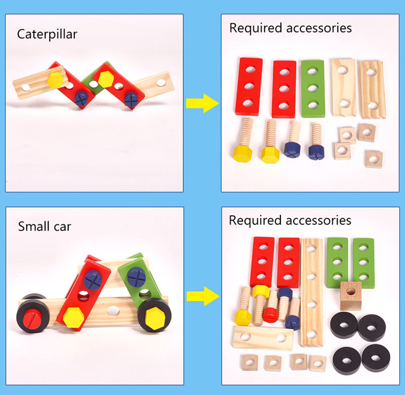 Kids Wooden Toolbox Pretend Play Set Educational Montessori Toys Nut Disassembly Screw Assembly Simulation Repair Carpenter Tool 11