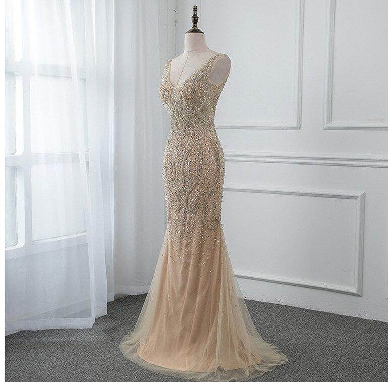 Вечерние платья в стиле русалки, украшенные бисером, с открытой спиной, с блестками, Длинные вечерние платья знаменитостей, v-образный