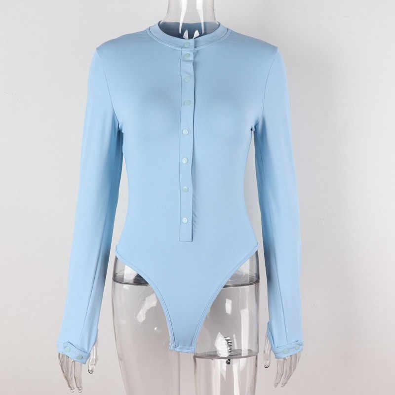 CNYISHE 2020 moda Casual düğme tulum kadın Bodysuits bahar uzun kollu elbise o-boyun nervürlü sıska tulumlar Streetwear vücut üst