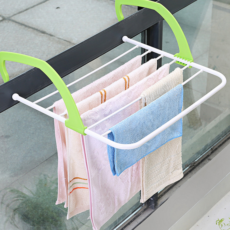 Portable Collapsible Drying Rack Outdoor Pole Clothes Perforated Radiator Hanger Balcony Telescopic Dryer Drying Rack