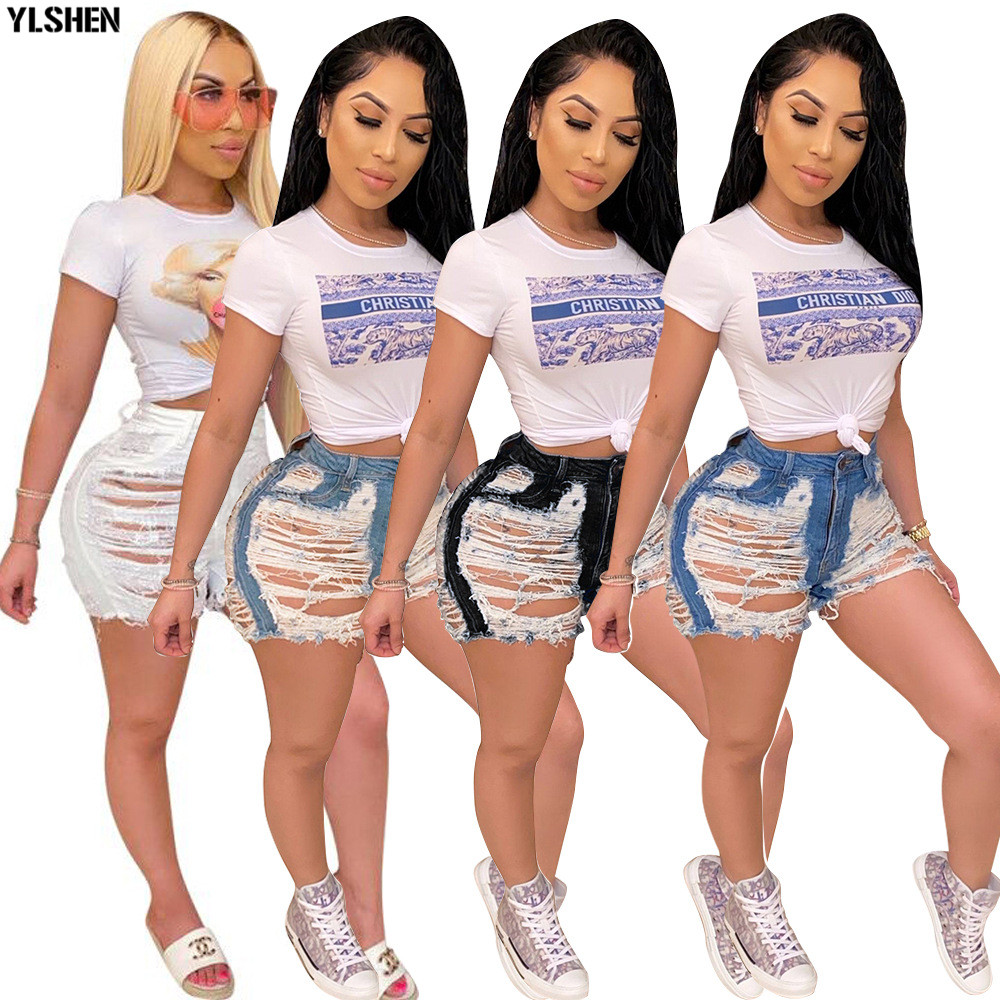 Streetwear Denim Pants Women Casual Joggers Holes Candy Jeans High Waist Skinny Female Trousers Korean Style Ladies Pants Capri