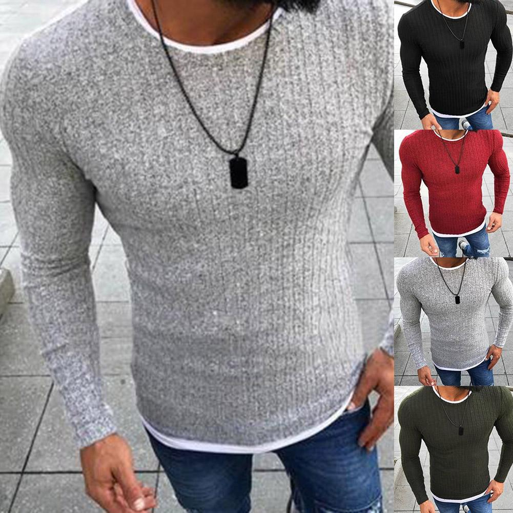 Fashion Plus Size Men Sweater Top Color Block Patchwork O Neck Long Sleeve Pullover Knitted Sweater For Men's Clothings Winter